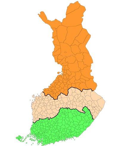 Metsän MYEL-hehtaarien alueelliset rajat Suomen kartassa.